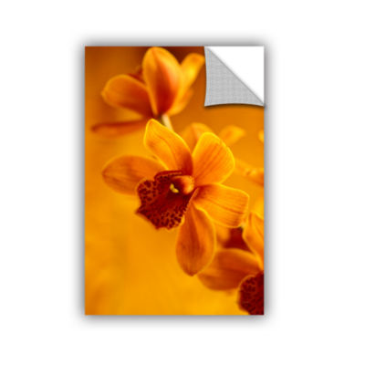 Brushstone Golden Cymbidium Orchid Removable WallDecal