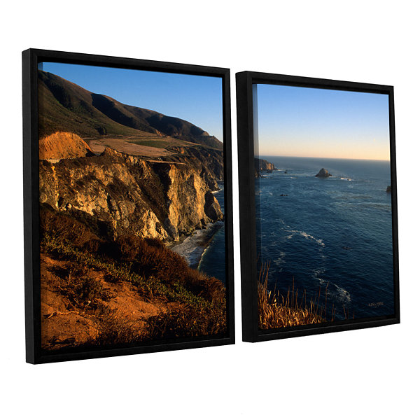Brushstone Golden Glow on Big Sur' 2-pc. Floater Framed Canvas Set