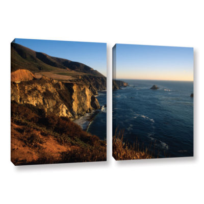 Brushstone Golden Glow on Big Sur' 2-pc. Gallery Wrapped Canvas Set