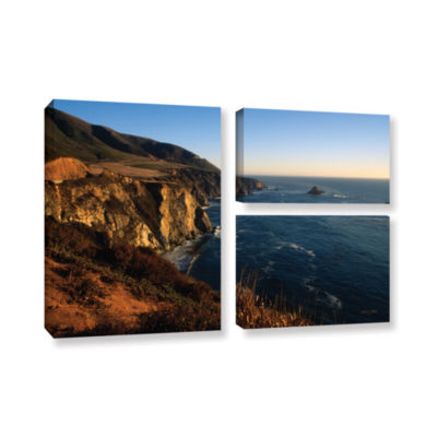 Brushstone Golden Glow on Big Sur' 3-pc. Gallery Wrapped Canvas Flag Set