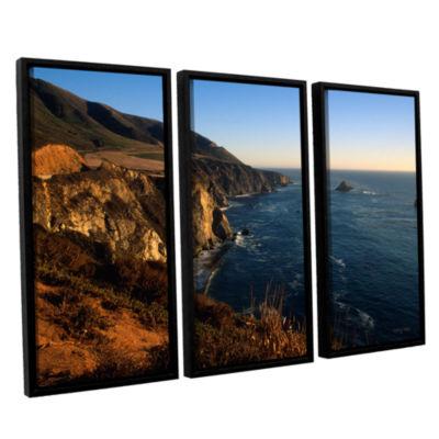 Brushstone Golden Glow on Big Sur' 3-pc. Floater Framed Canvas Set
