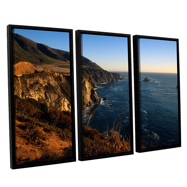 Brushstone Golden Glow on Big Sur' 3-pc. Floater Framed Canvas Set