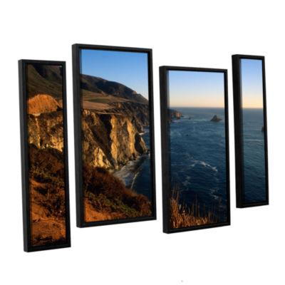 Brushstone Golden Glow on Big Sur' 4-pc. Floater Framed Canvas Staggered Set