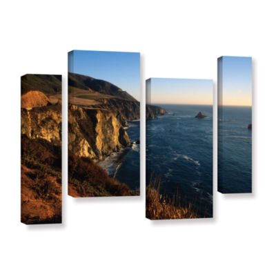 Brushstone Golden Glow on Big Sur' 4-pc. Gallery Wrapped Canvas Staggered Set