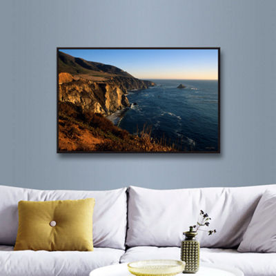 Brushstone Golden Glow on Big Sur' Gallery WrappedFloater-Framed Canvas