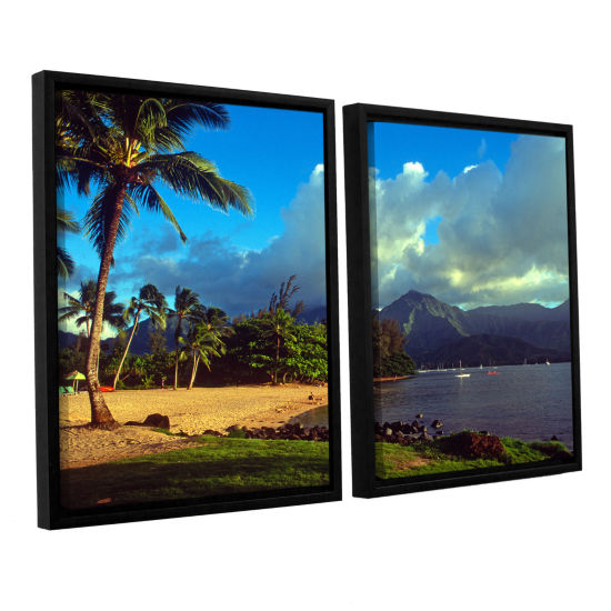 Brushstone Golden Light on Hanalei 2-pc. Floater Framed Canvas Set