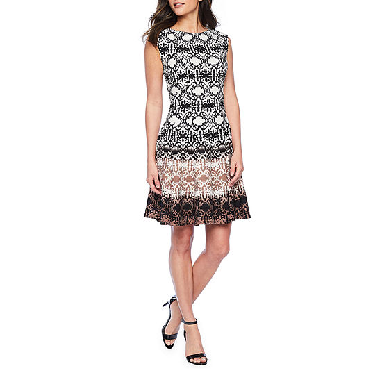Danny & Nicole Sleeveless Medallion Ombre Fit & Flare Dress