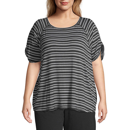 St. John's Bay Active-Womens Round Neck Elbow Sleeve T-Shirt Plus
