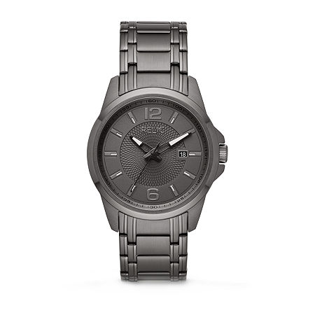 Relic By Fossil Cameron Mens Gray Stainless Steel Bracelet Watch - Zr12596, One Size