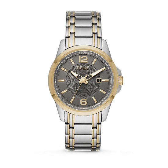 Relic By Fossil Cameron Mens Two Tone Stainless Steel Bracelet Watch-Zr12598