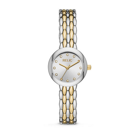 Relic By Fossil Lois Womens Crystal Accent Two Tone Bracelet Watch-Zr34569