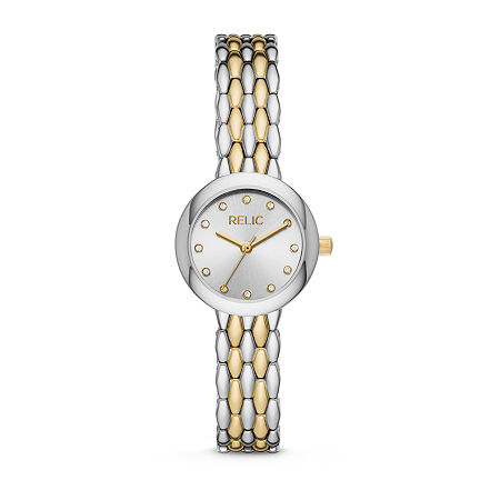 Relic By Fossil Lois Womens Crystal Accent Two Tone Bracelet Watch - Zr34569, One Size