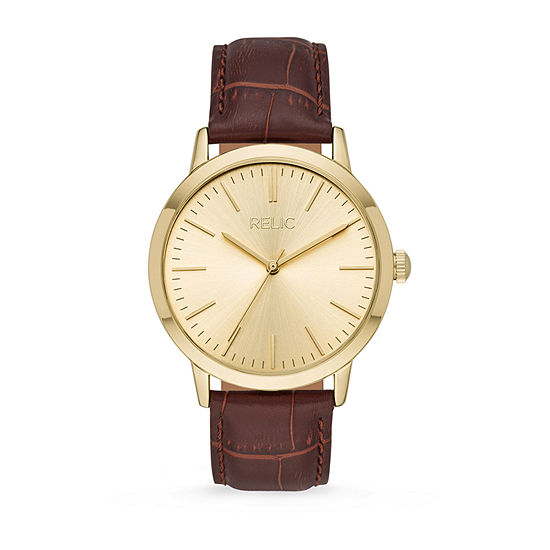 Relic By Fossil Jeffery Mens Brown Leather Strap Watch-Zr77320