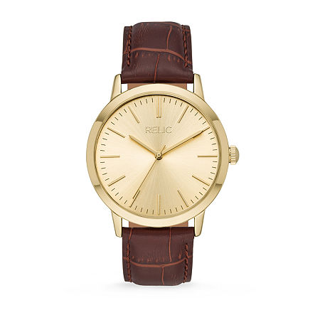 Relic By Fossil Jeffery Mens Brown Leather Strap Watch-Zr77320, One Size