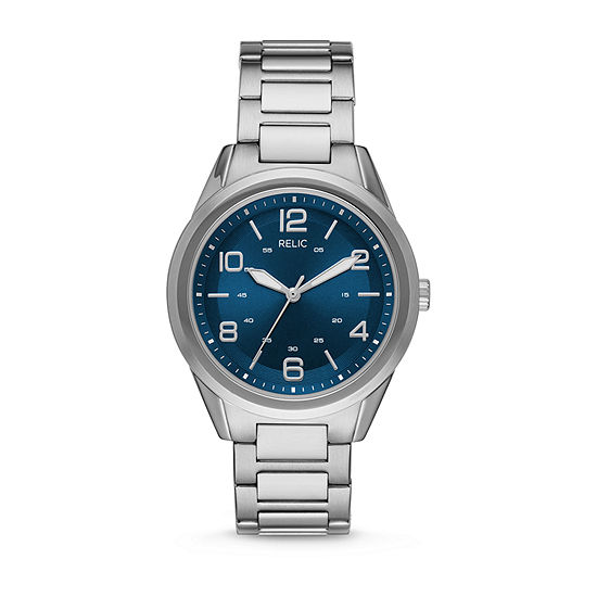 Relic By Fossil Brian Mens Silver Tone Stainless Steel Bracelet Watch-Zr12599