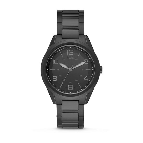Relic By Fossil Brian Mens Black Stainless Steel Bracelet Watch-Zr12601