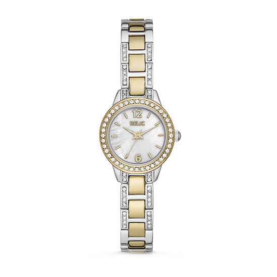 Relic By Fossil Tenley Womens Crystal Accent Two Tone Bracelet Watch-Zr34570