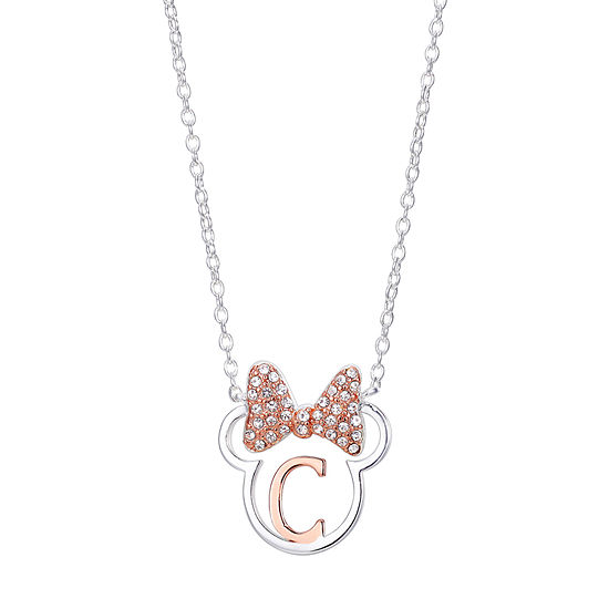 Disney Disney Classics Crystal Pure Silver Over Brass 16 Inch Link Minnie Mouse Pendant Necklace