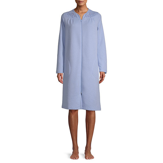 Adonna Womens Knit Robe Long Sleeve Knee Length
