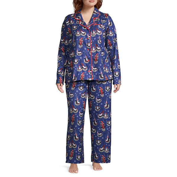 Nite Nite Munki Munki Penguin Family Long Sleeve Coat Front Womens-Plus Pant Pajama Set 2-pc.