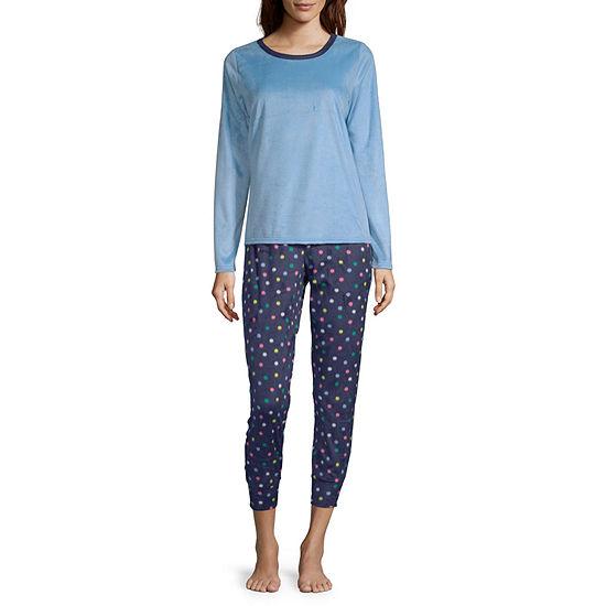 Sleep Chic Microfleece Womens Pant Pajama Set 2-pc. Long Sleeve