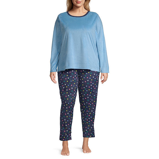 Sleep Chic Microfleece Womens-Plus Pant Pajama Set 2-pc. Long Sleeve