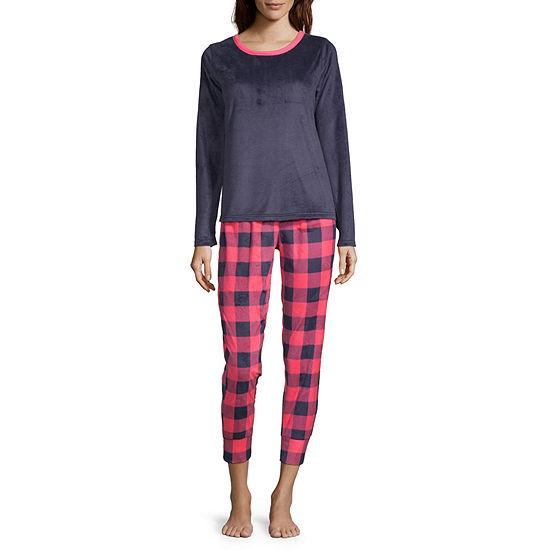 Sleep Chic Microfleece Womens-Petite Pant Pajama Set 2-pc. Long Sleeve
