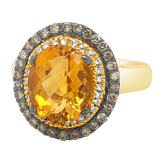 Le Vian Grand Sample Sale™ Ring featuring Cinnamon Citrine® Chocolate Diamonds® Vanilla Diamonds® set in 14K Honey Gold™