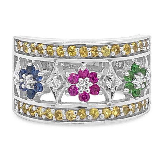 Le Vian Grand Sample Sale™ Ring featuring Yellow Sapphire Bubble Gum Pink Sapphire™ Cornflower Ceylon Sapphire™ Forest Green Tsavorite™ Vanilla Diamonds® set in 14K Vanilla Gold®