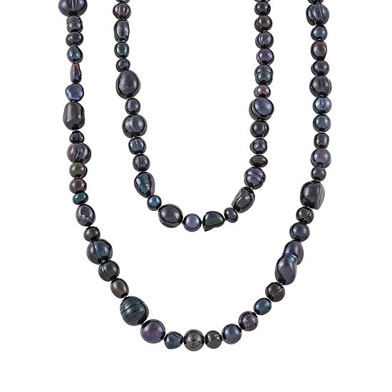 Honora Legacy Womens 11MM Dyed Black Cultured Freshwater Pearl Strand Necklace