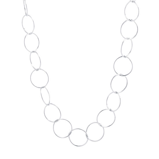 Womens Sterling Silver Link Necklace