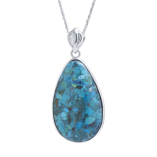 Womens Enhanced Blue Turquoise Sterling Silver Pendant Necklace