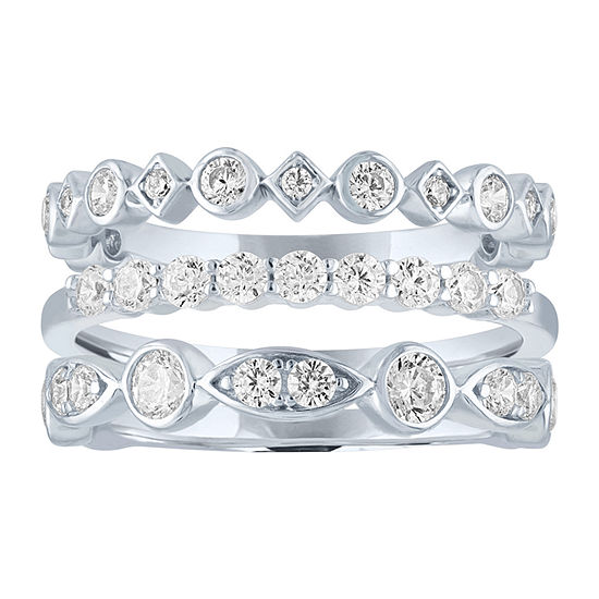 Diamonart Womens White Cubic Zirconia Sterling Silver Stackable Ring