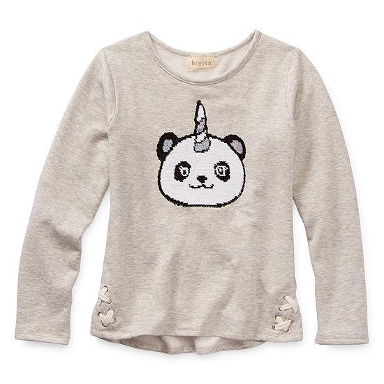 Btween Girls Round Neck Long Sleeve Graphic T-Shirt - Big Kid