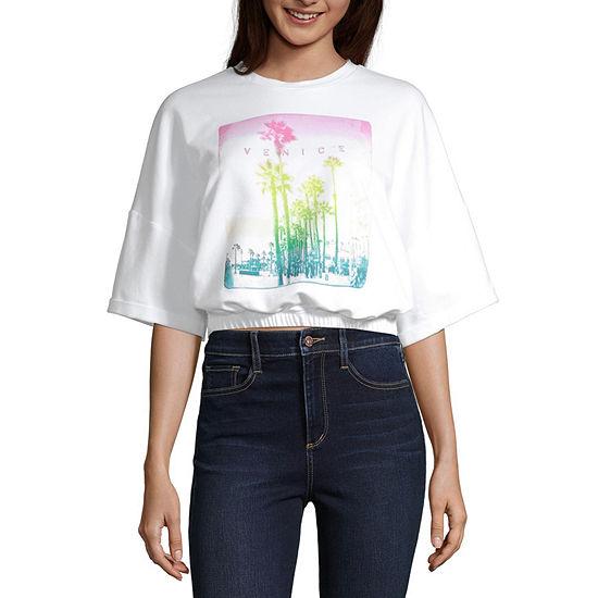 Arizona Juniors Womens Crew Neck Short Sleeve Sweatshirt