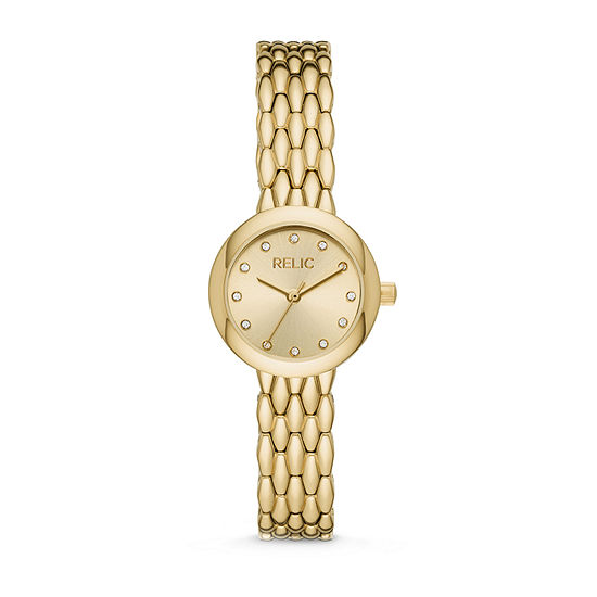 Relic By Fossil Lois Womens Crystal Accent Gold Tone Bracelet Watch - Zr34567
