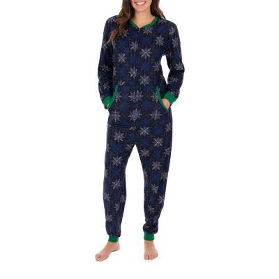 Wembley Snowflake Women's Long Sleeve Round Neck Fleece One Piece Pajama - Misses