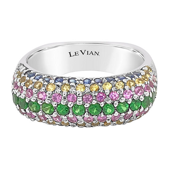 Le Vian Grand Sample Sale™ Ring featuring Bubble Gum Pink Sapphire™ Cornflower Ceylon Sapphire™ Forest Green Tsavorite™ Yellow Sapphire set in 14K Vanilla Gold®