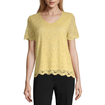 Liz Claiborne Spring Bouquet Womens V Neck Short Sleeve Lace Blouse