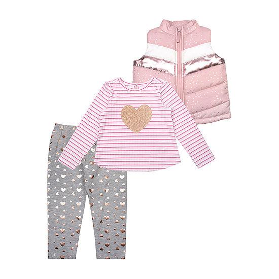 Nanette Baby Girls 3-pc. Hearts Pant Set Toddler