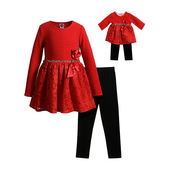 Dollie And Me Dollie And Me Girls Long Sleeve Fitted Sleeve Dress Set - Preschool / Big Kid
