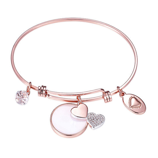 Footnotes Sisters Silver Over Brass Stainless Steel 8 1/4 Inch Solid Heart Bangle Bracelet