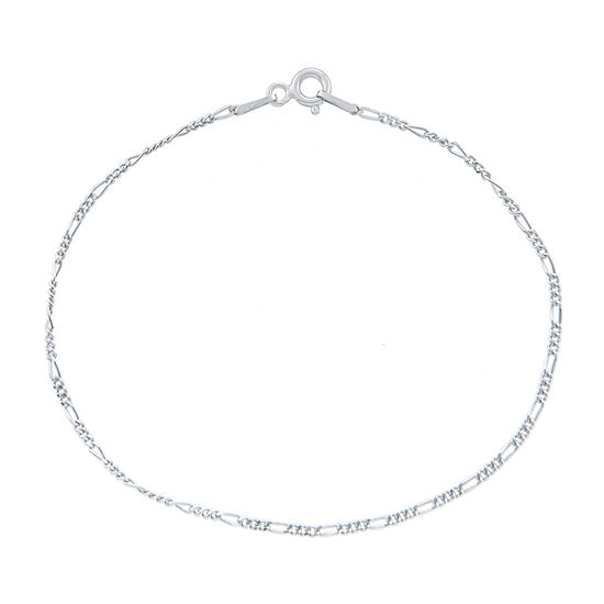 """Made in Italy Silver Treasures 7.25- 8"""" Figaro Chain Bracelet"""