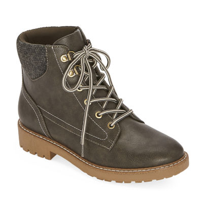 St. John's Bay Womens Durham Lace Up Boots Block Heel