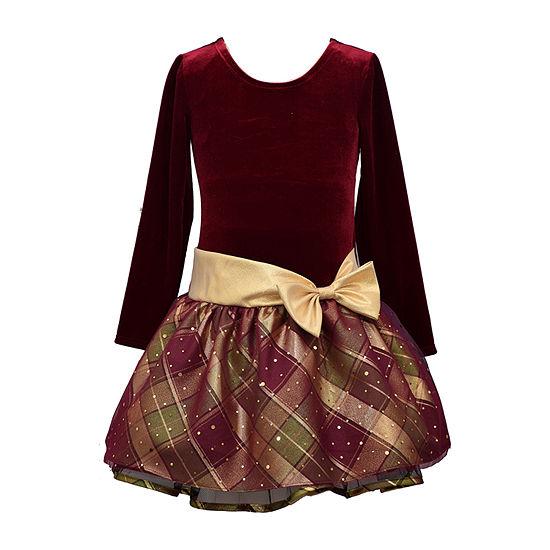 Bonnie Jean Toddler Girls Long Sleeve Drop Waist Dress