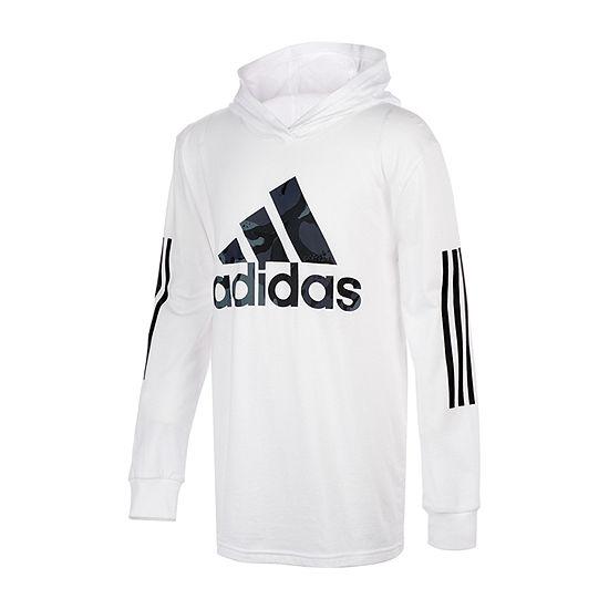 adidas Big Boys Hooded Neck Long Sleeve T-Shirt