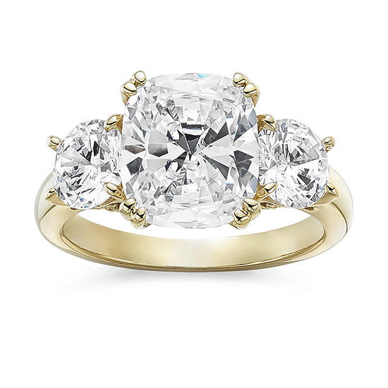DiamonArt® Womens 5 3/4 CT. T.W. White Cubic Zirconia 14K Gold Over Silver 3-Stone Engagement Ring
