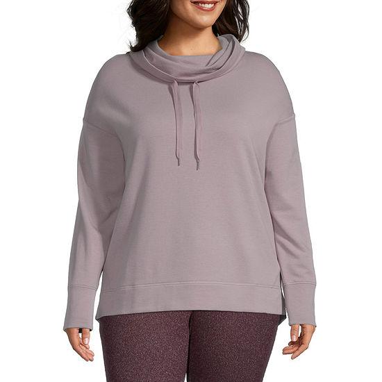 Ambrielle Womens-Plus Hooded Neck Fleece Pajama Top