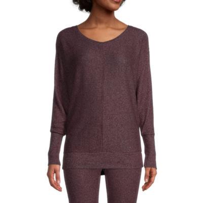 Ambrielle Womens Round Neck Pajama Top