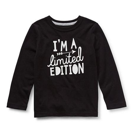 Okie Dokie Toddler Boys Crew Neck Long Sleeve Graphic T-Shirt, 4t , Black